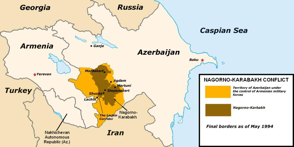 Mapa situace po uzavření příměří v roce 1994, znázorňující území Náhorního Karabachu a okupovaná území Ázerbájdžánu.