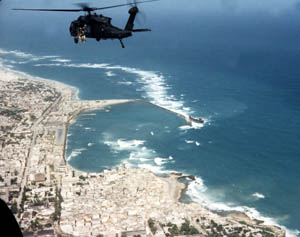Michael Durant's helicopter over Mogadishu. Mike Goodale rode on this one.
