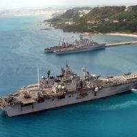 030228-N-3612M-009 White Beach Port Facility, Okinawa, Japan (Feb. 28, 2003) - A busy day for the White Beach Port Facility in Okinawa, Japan as the amphibious assault ship USS Essex (LHD 2), Japanese Maritime Defense Force (JMSDF) ships Shimakaze (DDG 172), Myoukou (DDG 175), Hamagiri (DD 155), Natusio (SS 584), USS Juneau (LPD 10), and USS Fort McHenry (LSD 43) sit moored pierside. U.S. Navy photo by PhotographerÕs Mate 1st Class James G. McCarter. (RELEASED)