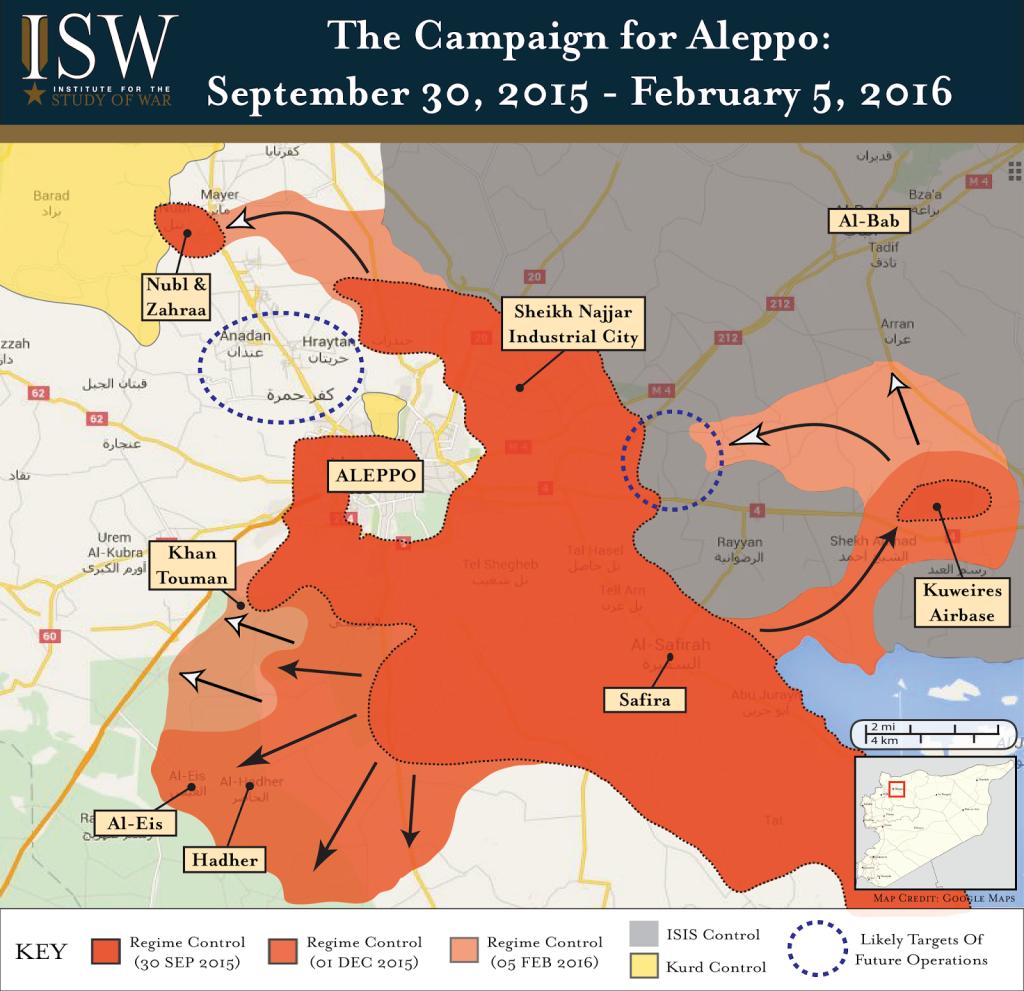 Porovnání stavu bojiště mezi srpnem 2015 a únorem 2016 (zdroj: ISW).
