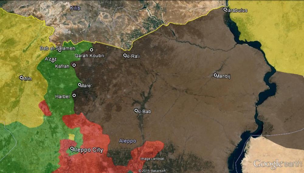 Snímek ke dni 22. prosince 2015; žlutá – Kurdové, zelená – rebelové/opozice, červená – režim, hnědá – Daesh, žlutá lajna v horní části jsou Turecko-Syrské hranice. (zdroj: Vice-news).