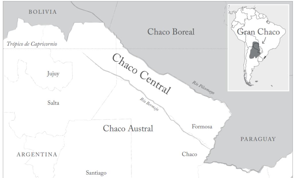 Mapa č. 1 – rozdělení Chaca řekami Pilcomayo a Bermejo (Teuco) na 3 podoblasti (Guzmán 2012).